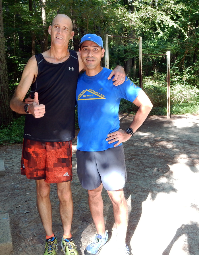 O'Donnell with Nestor Paonessa (right) at the Al Buehler Trail. The two ran together before O'Donnell checked in for his third brain surgery.