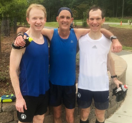 O'Donnell poses with his friends after a ten-mile run at the American Tobacco Trail just three days after his operation.